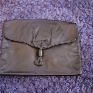 AUTHENTIC LEATHER  1970's Black Clutch